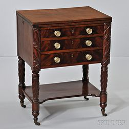 Classical Carved Mahogany and Mahogany Veneer Worktable